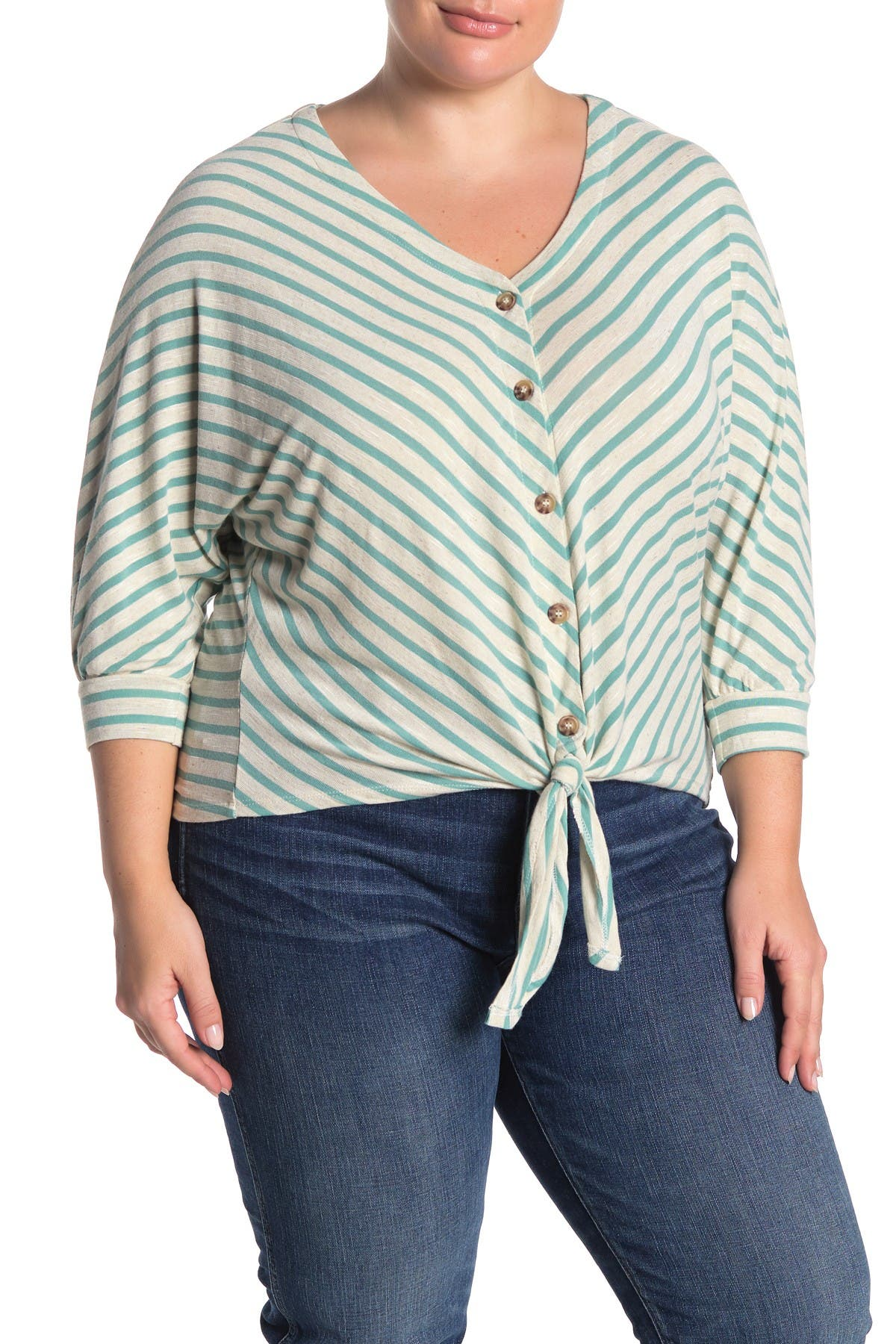 Image of Democracy 3/4 Length Dolman Sleeve Tie Front Blouse