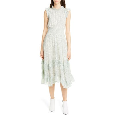 Rebecca Taylor Ikat Leaf Metallic Detail Cotton & Silk Dress, Green