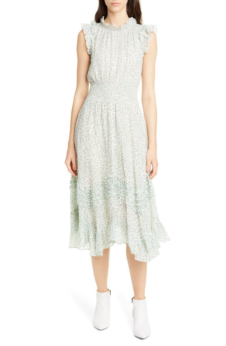 REBECCA TAYLOR Ikat Leaf Metallic Detail Cotton & Silk Dress, Main, color, JADE COMBO