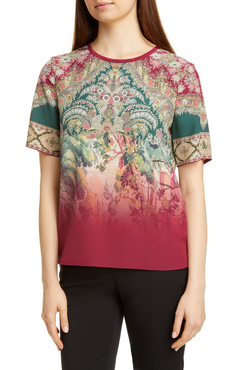 ETRO Dégradé Paisley Print Silk Top, Main, color, MULTI