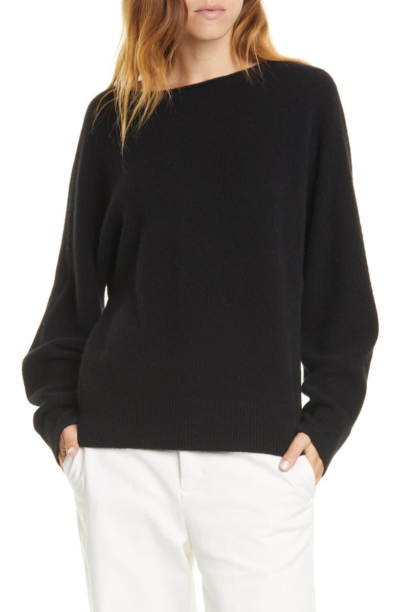 VINCE Boat Neck Dolman Sleeve Cashmere Sweater, Main, color, BLACK