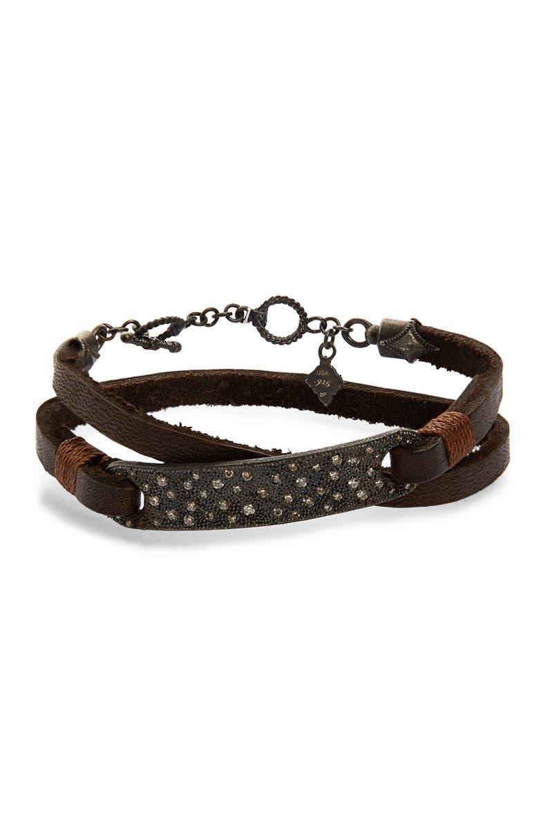 ARMENTA Old World Wrap Bar Bracelet, Main, color, BLACKENED SILVER/ DIAMONDS