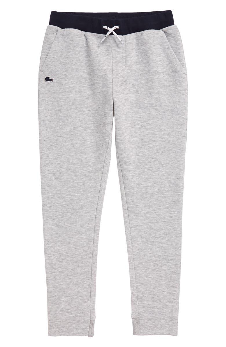 LACOSTE Fleece Jogger Sweatpants, Main, color, SILVER GREY CHINE/ NAVY BLUE