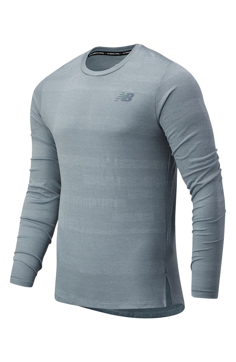 NEW BALANCE Q Speed Fuel Jacquard Long Sleeve Performance T-Shirt, Main, color, ATHLETIC GREY