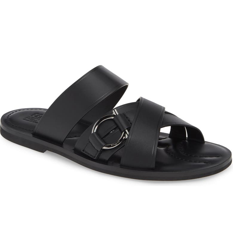 SALVATORE FERRAGAMO Atina Slide Sandal, Main, color, NERO