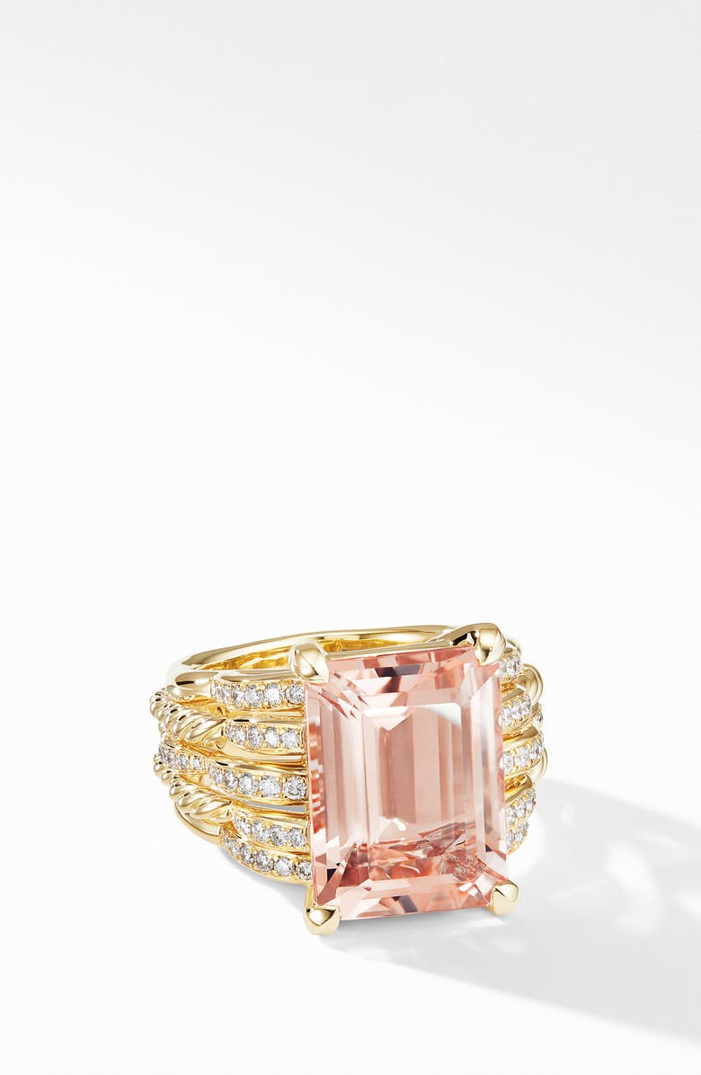 DAVID YURMAN Tides Woven Ring in 18K Yellow Gold with Diamonds, Main, color, GOLD/ MORGANITE