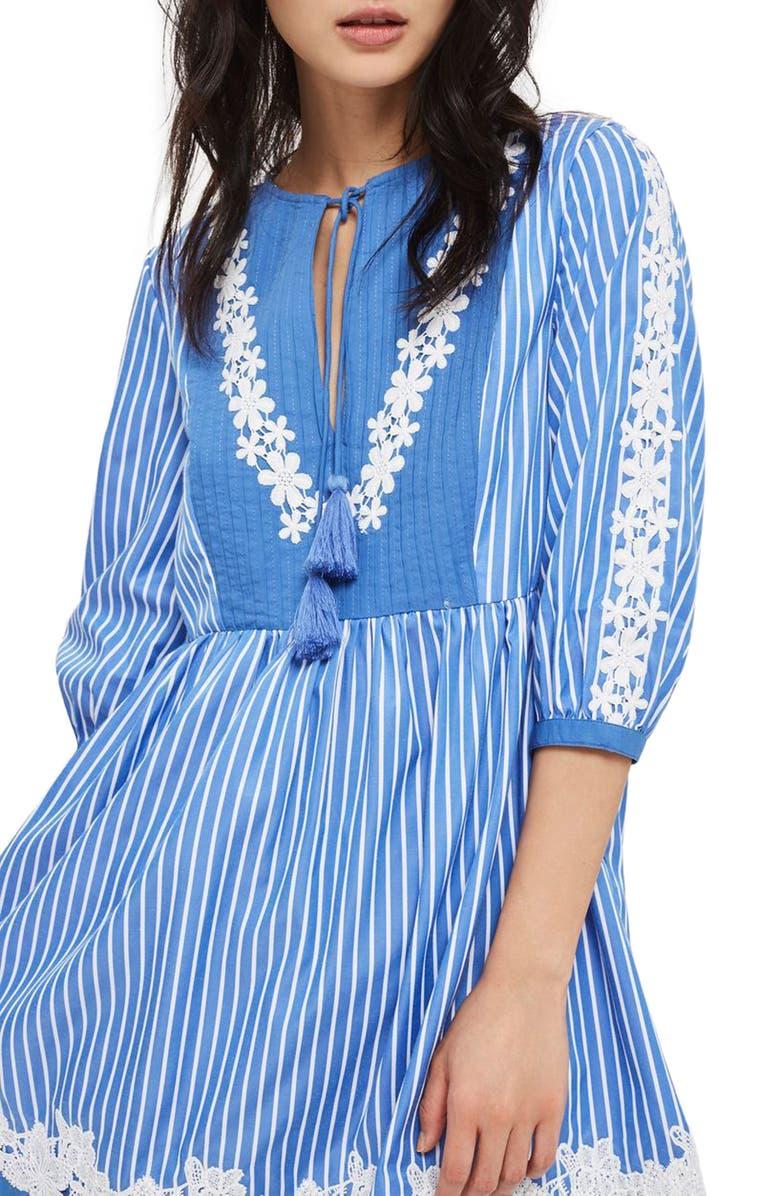 TOPSHOP Embroidered Stripe Smock Dress, Main, color, 400