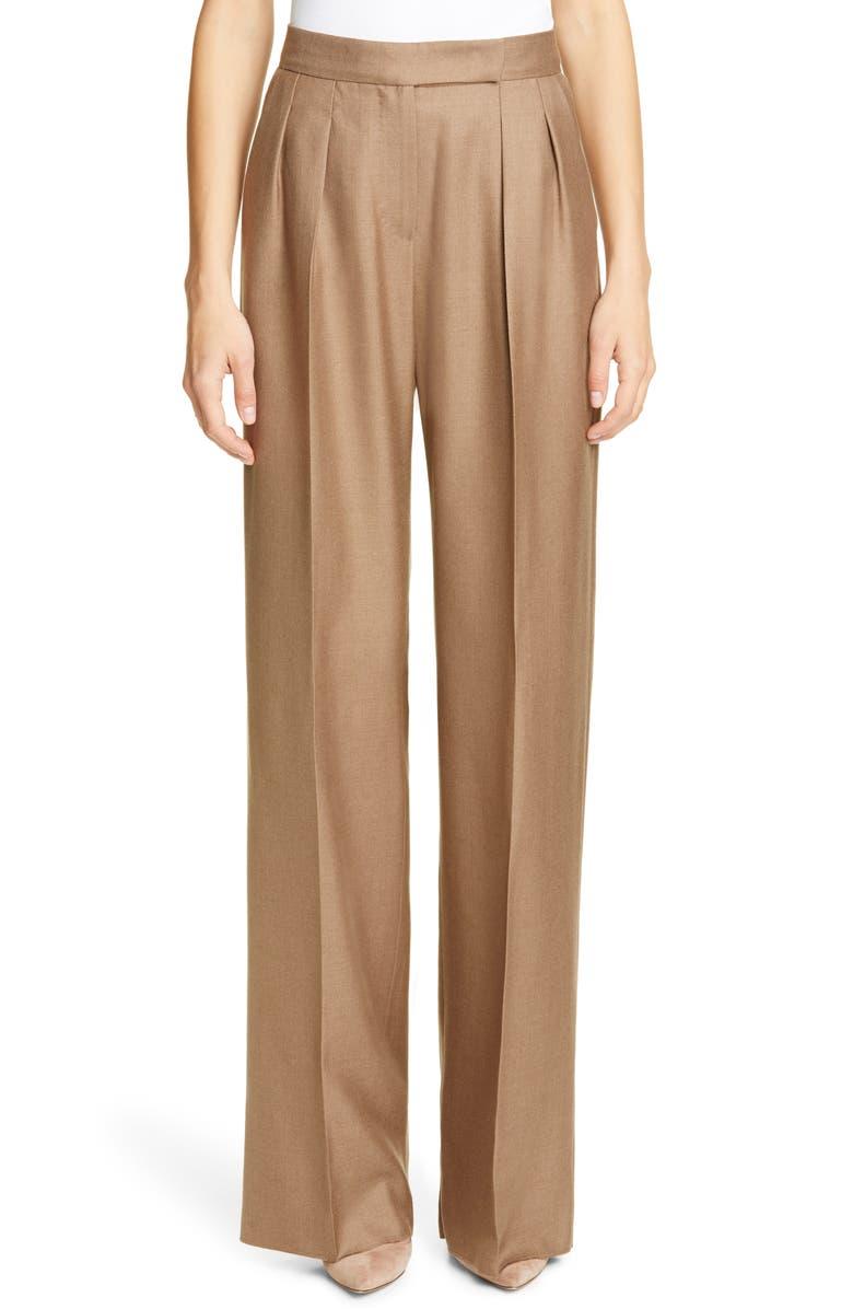 MAX MARA Aerovia Camel Hair & Silk Pants, Main, color, LIGHT BROWN