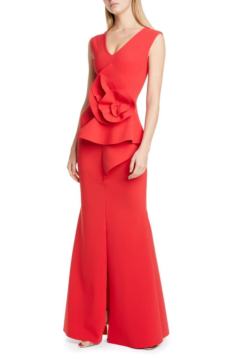 CHIARA BONI LA PETITE ROBE Ebeline Ruffle Detail Gown, Main, color, PASSION