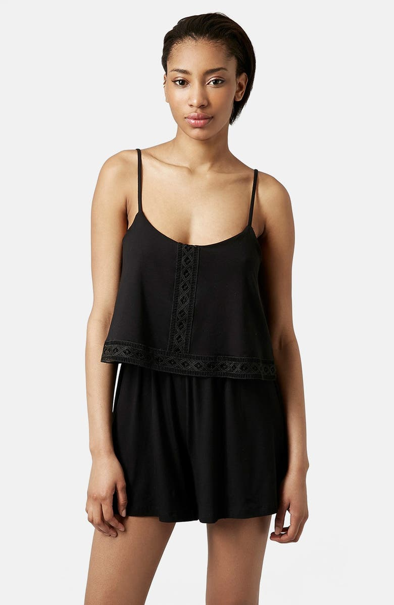 TOPSHOP Lace Trim Overlay Romper, Main, color, 001