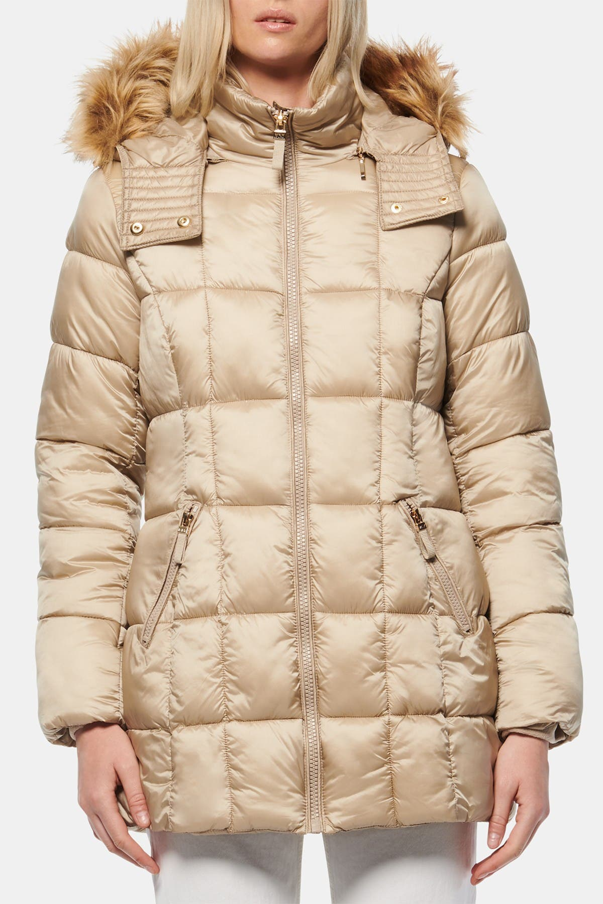 Image of Andrew Marc Maddy Quilted Faux Fur Trim Hooded Puffer Jacket