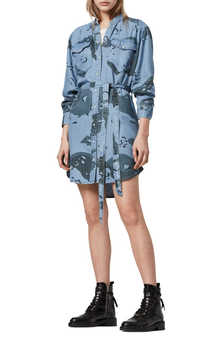 ALLSAINTS Kat Camo Long Sleeve Denim Mini Shirtdress, Main, color, CAMO BLUE