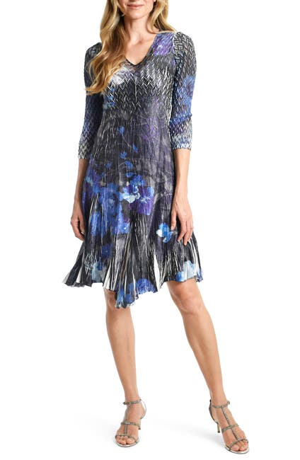 Image of Hydroderm Floral Charmeuse & Chiffon A-Line Dress
