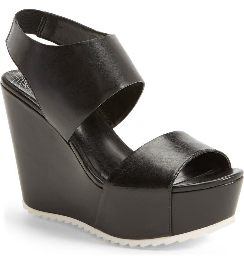 TROUVÉ 'Morgan' Platform Wedge Leather Sandal, Main, color, 001