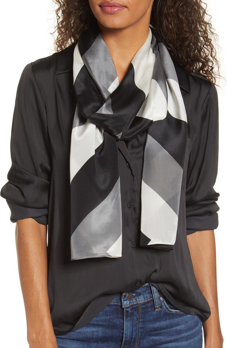 ECHO Chevron Silk Scarf, Main, color, BLACK