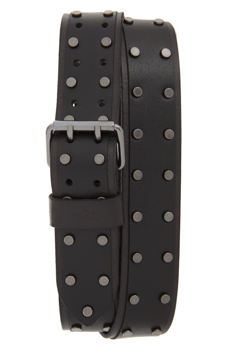 ALLSAINTS Studded Leather Belt, Main, color, BLACK