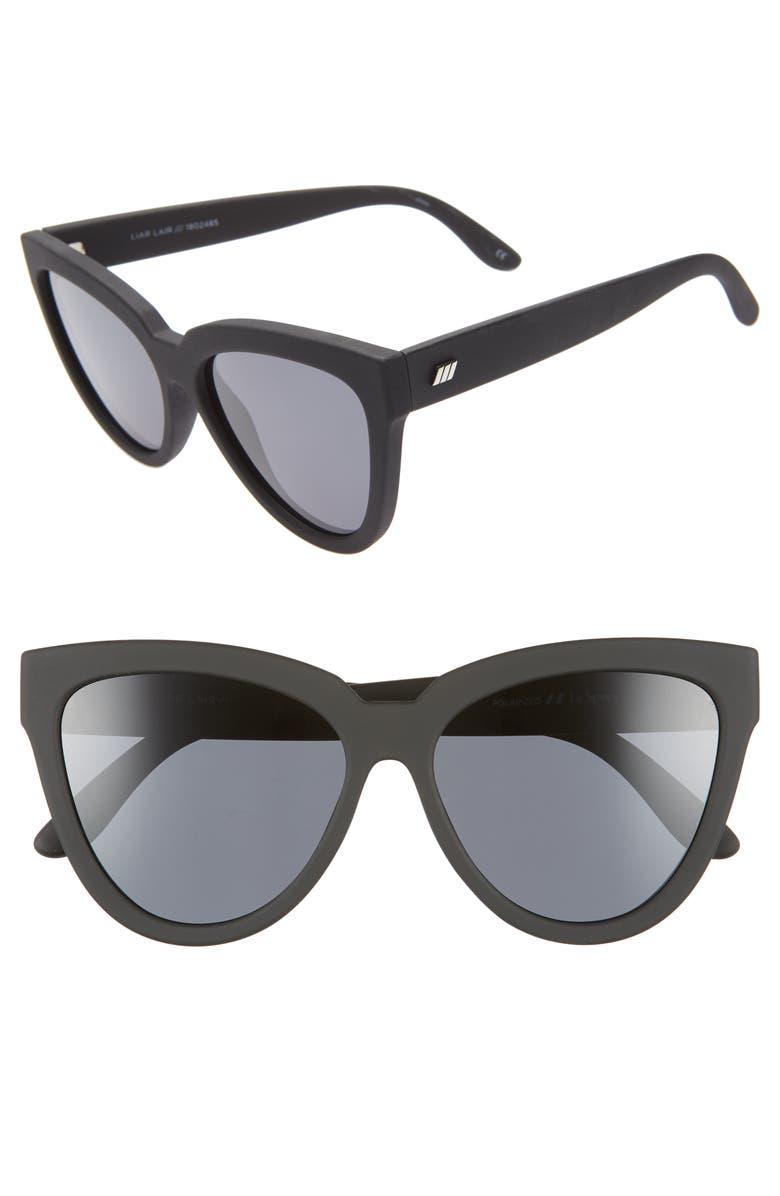 LE SPECS Liar Liar 57mm Polarized Cat Eye Sunglasses, Main, color, BLACK RUBBER
