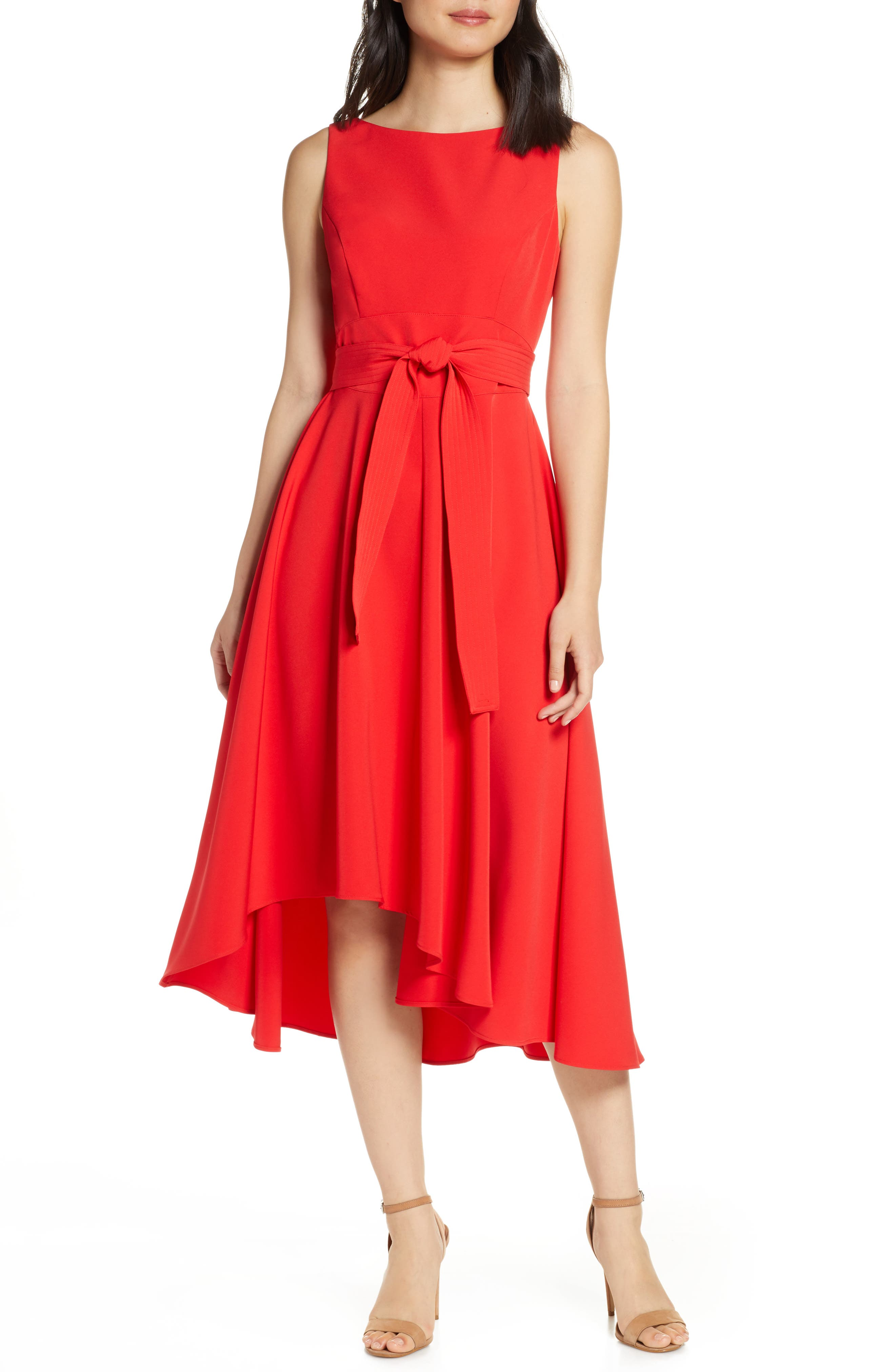 Vince Camuto Crepe Asymmetrical Midi Dress, Red
