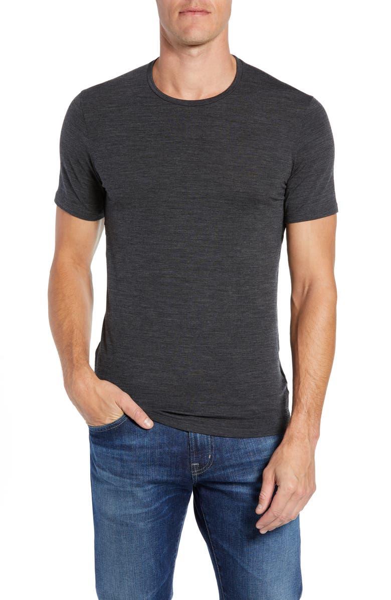 ICEBREAKER Anatomica Short Sleeve Crewneck T-Shirt, Main, color, JET HEATHER/ BLACK