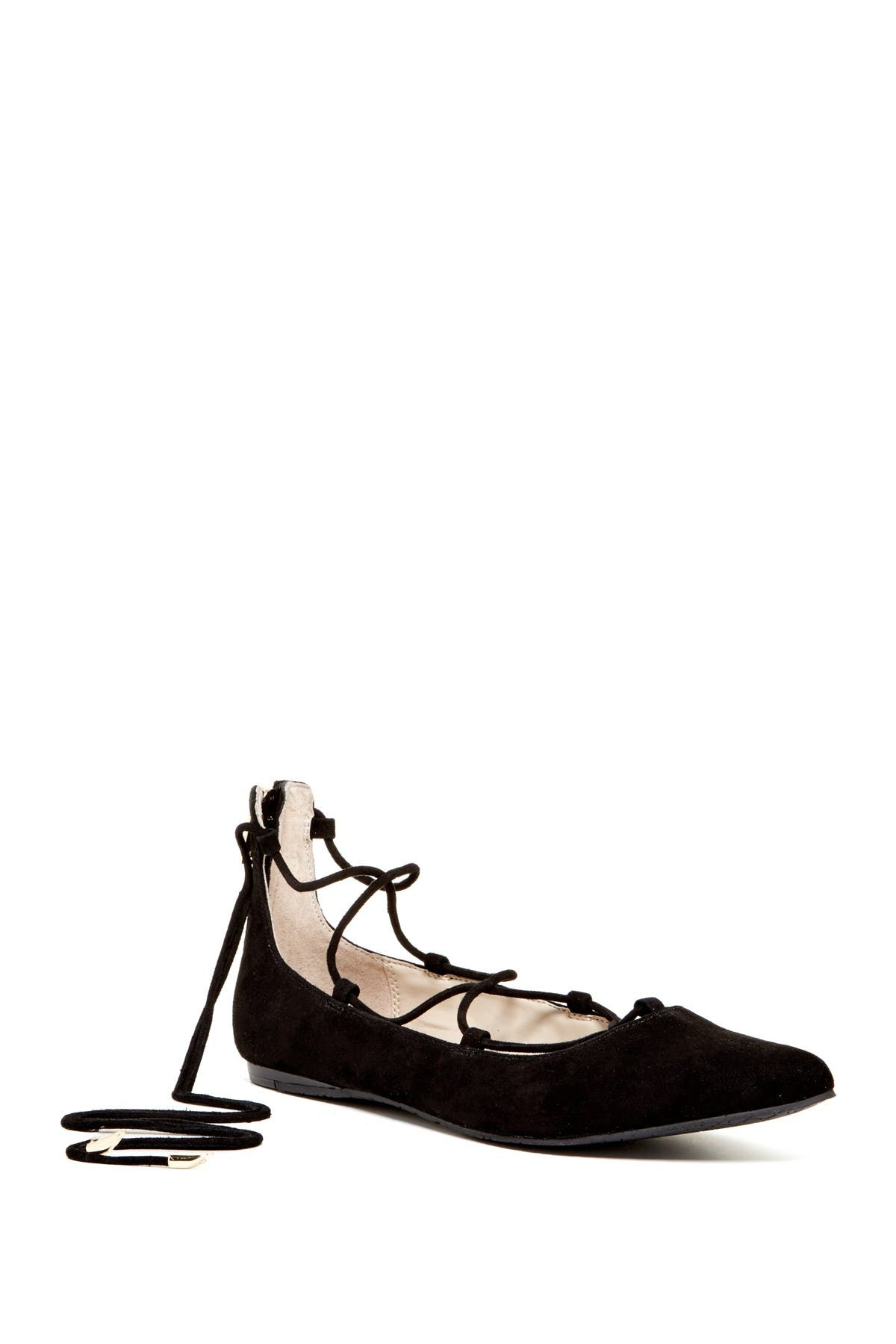 Image of Calvin Klein Harlin Suede Pointed Toe Lace-Up Flat