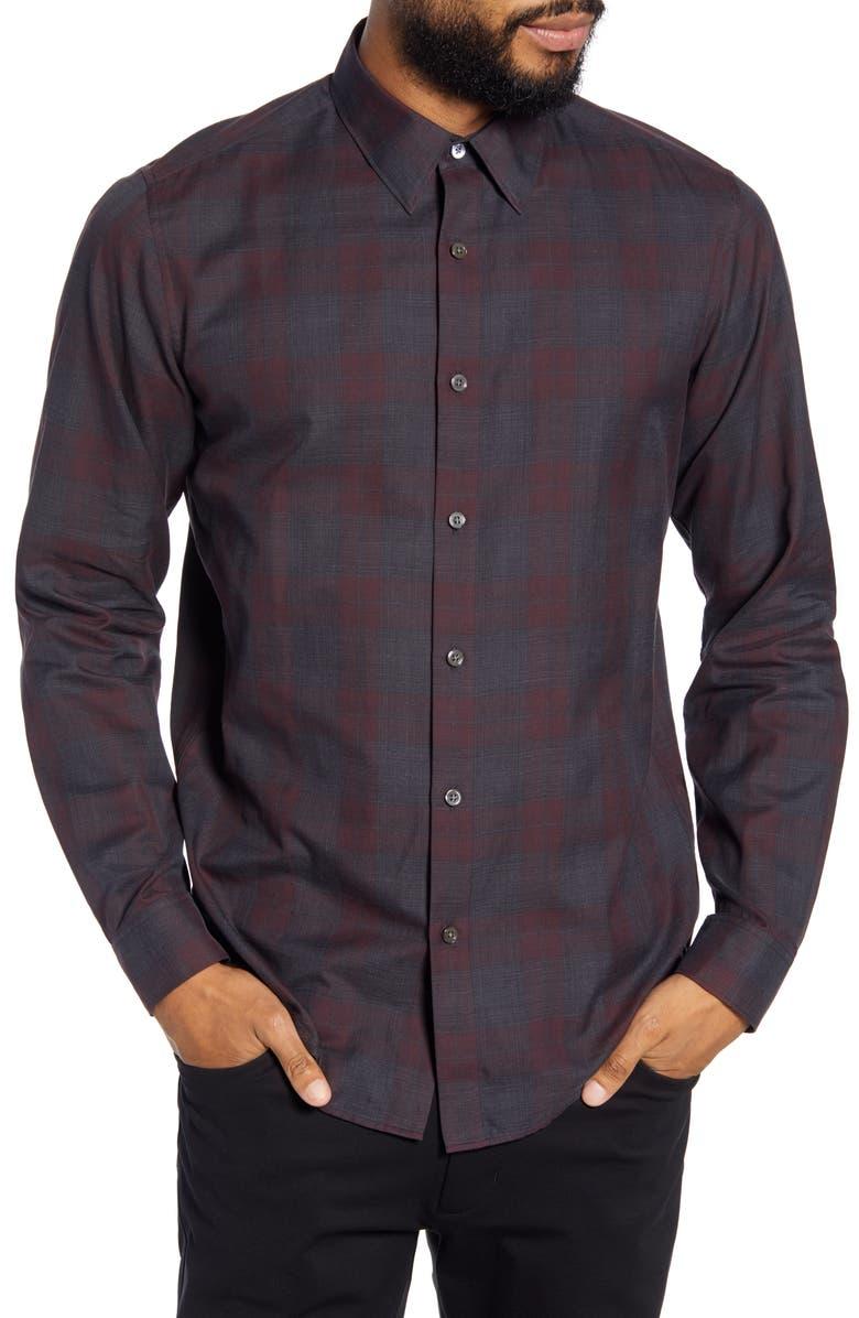 THEORY Phoenix Slim Fit Button-Up Shirt, Main, color, CHIANTI CHECK