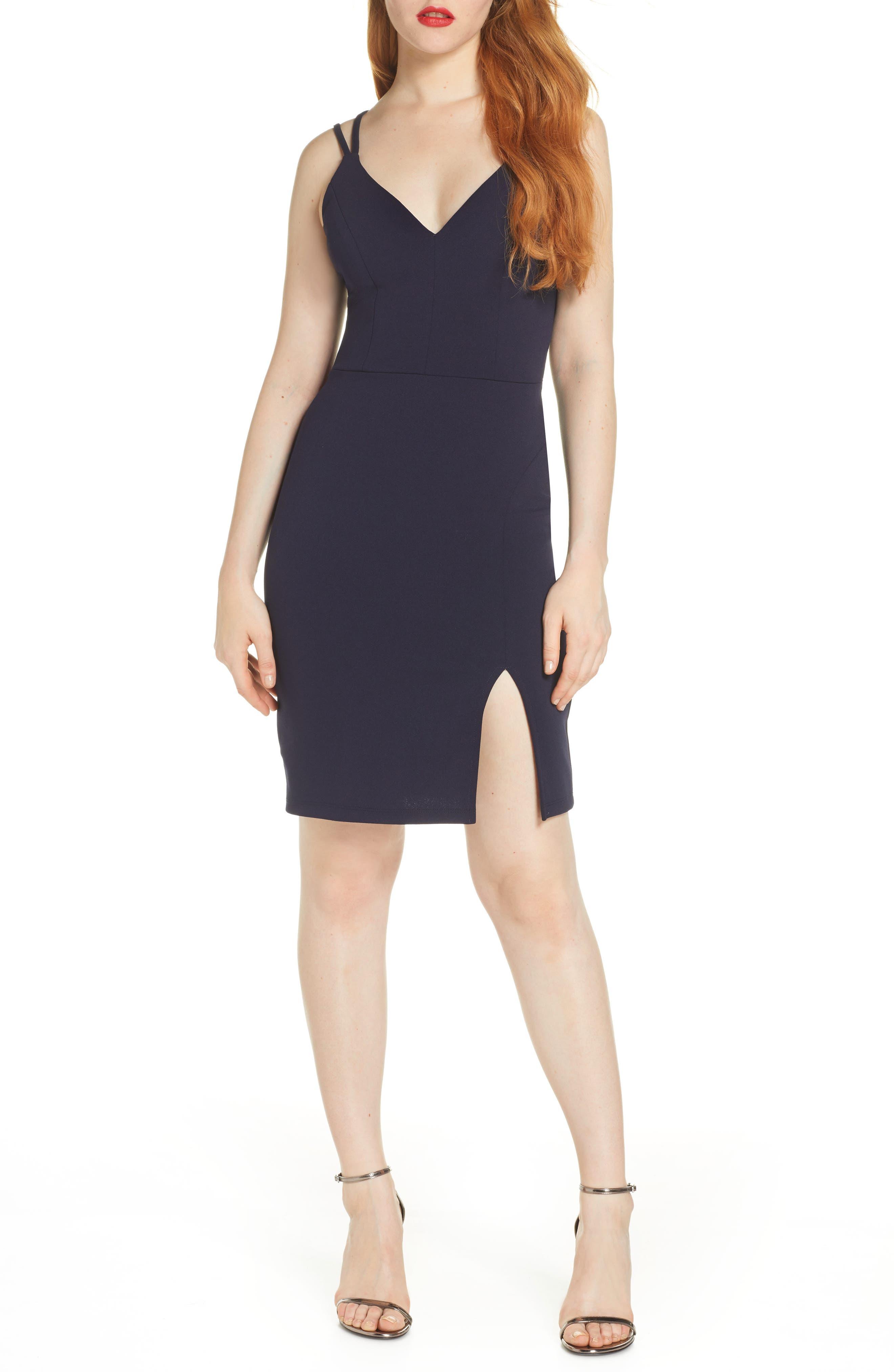 Sequin Hearts Lace Scuba Crepe Sleeveless Dress, Blue
