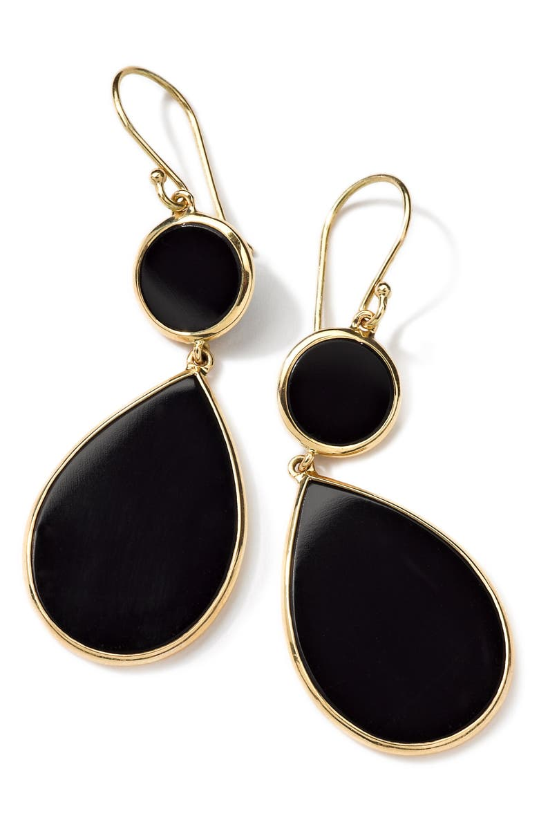 IPPOLITA Rock Candy Drop Earrings, Main, color, GOLD/ BLACK ONYX