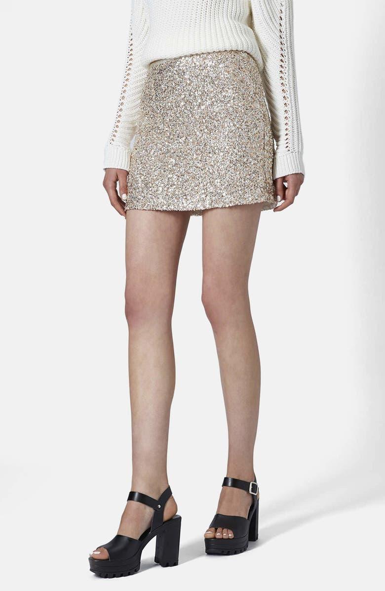 TOPSHOP Sequin Pelmet Skirt, Main, color, 250