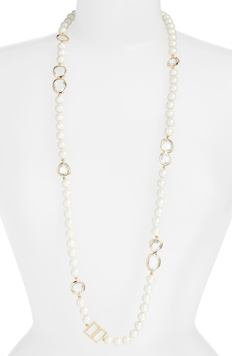 KATE SPADE NEW YORK 'pearlescent baubles' faux pearl rope necklace, Main, color, 100