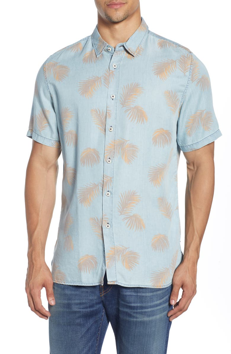 BARNEY COOLS Holiday Short Sleeve Button-Up Shirt, Main, color, INDIGO FERN