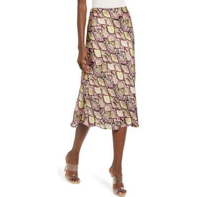 Leith Satin Midi Skirt, Brown