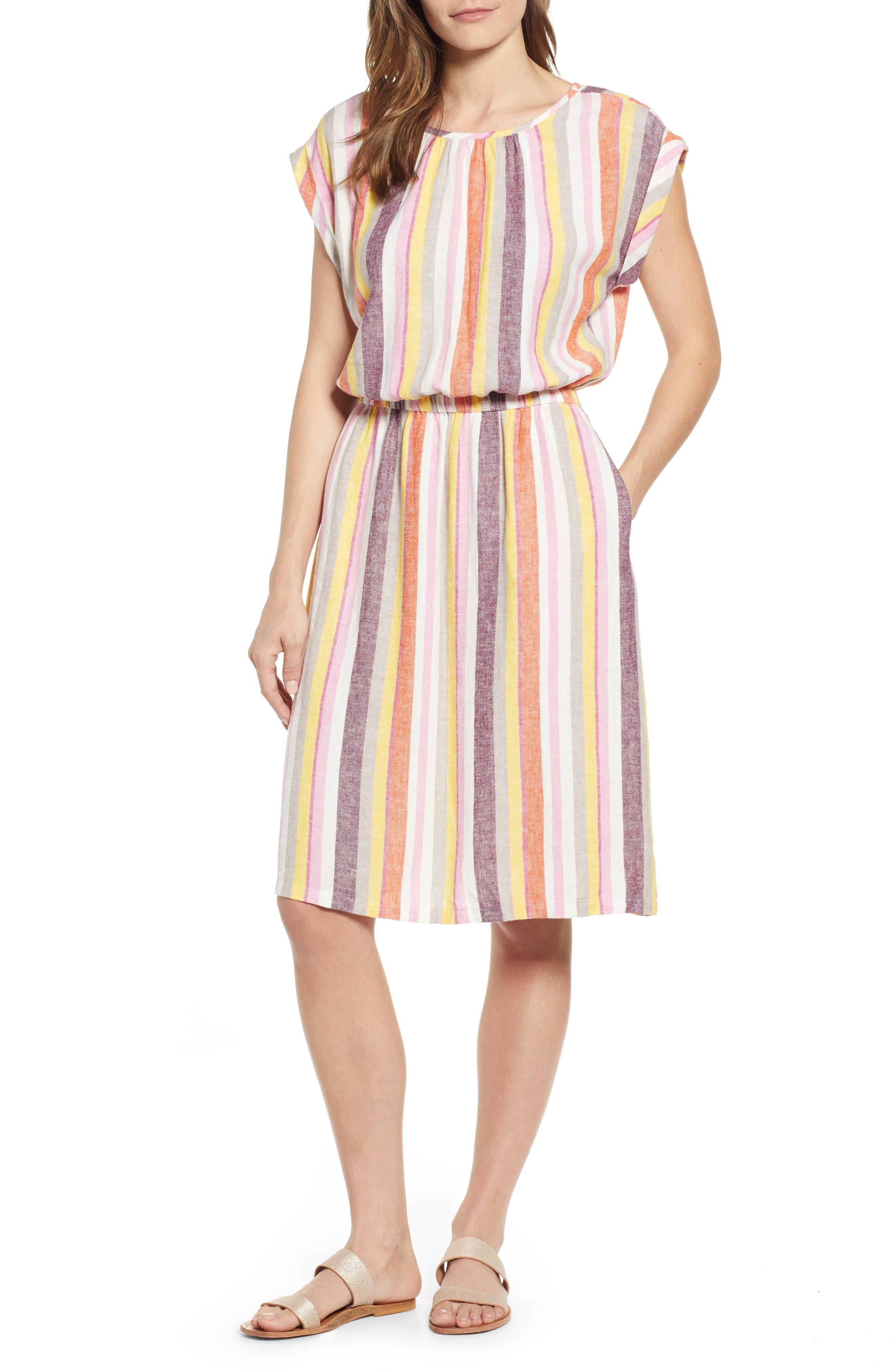 Petite Caslon Stripe Linen Dress, Pink
