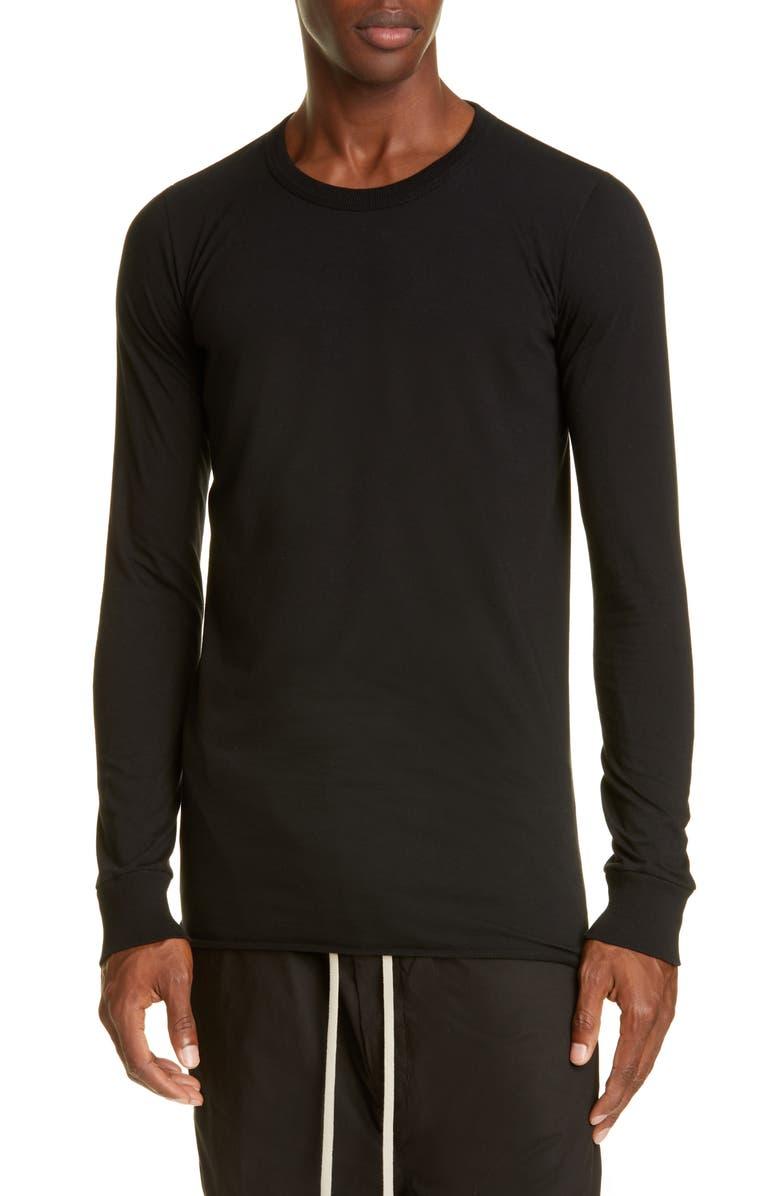 RICK OWENS Basic AJ Long Sleeve T-Shirt, Main, color, BLACK