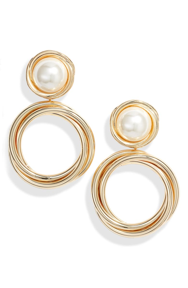 8 OTHER REASONS x Jill Jacobs Imitation Pearl Hoop Earrings, Main, color, 710