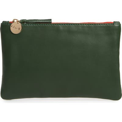 Clare V. Leather Zip Top Clutch - Green