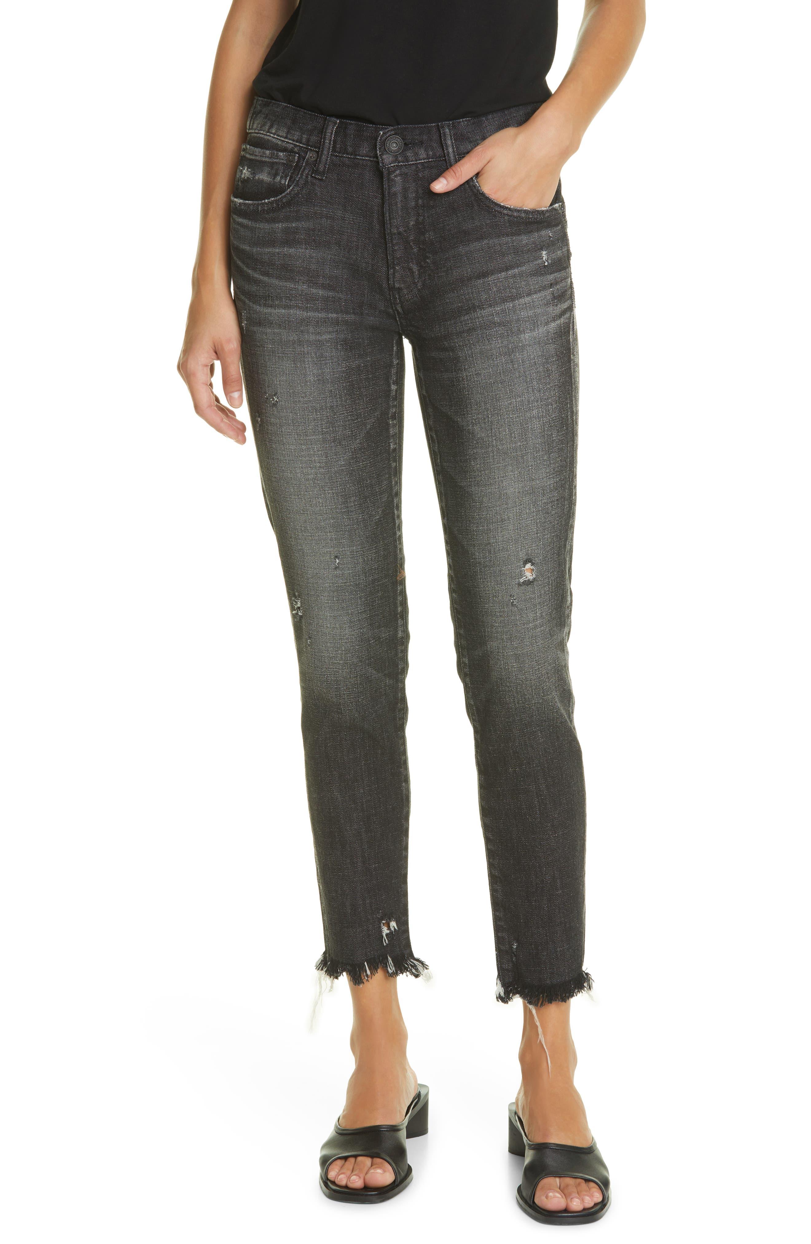 Diana Distressed Frayed Hem Skinny Jeans