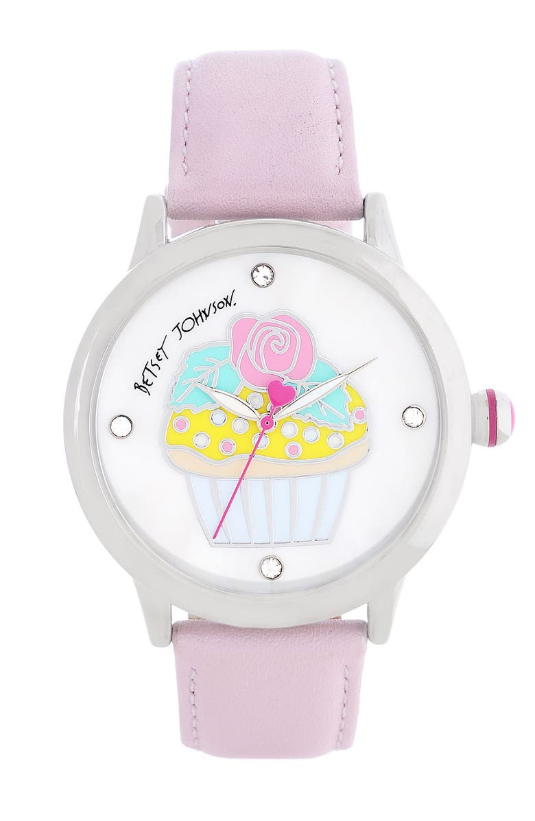 BETSEY JOHNSON Cupcake Dial Leather Strap Watch, Main, color, 680