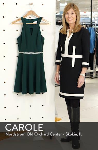 Keyhole Neck Crystal Trim Fit & Flare Dress, sales video thumbnail