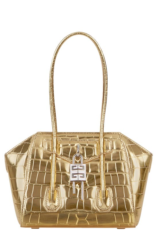Givenchy Leathers MINI ANTIGONA LOCK CROC EMBOSSED METALLIC LEATHER SATCHEL