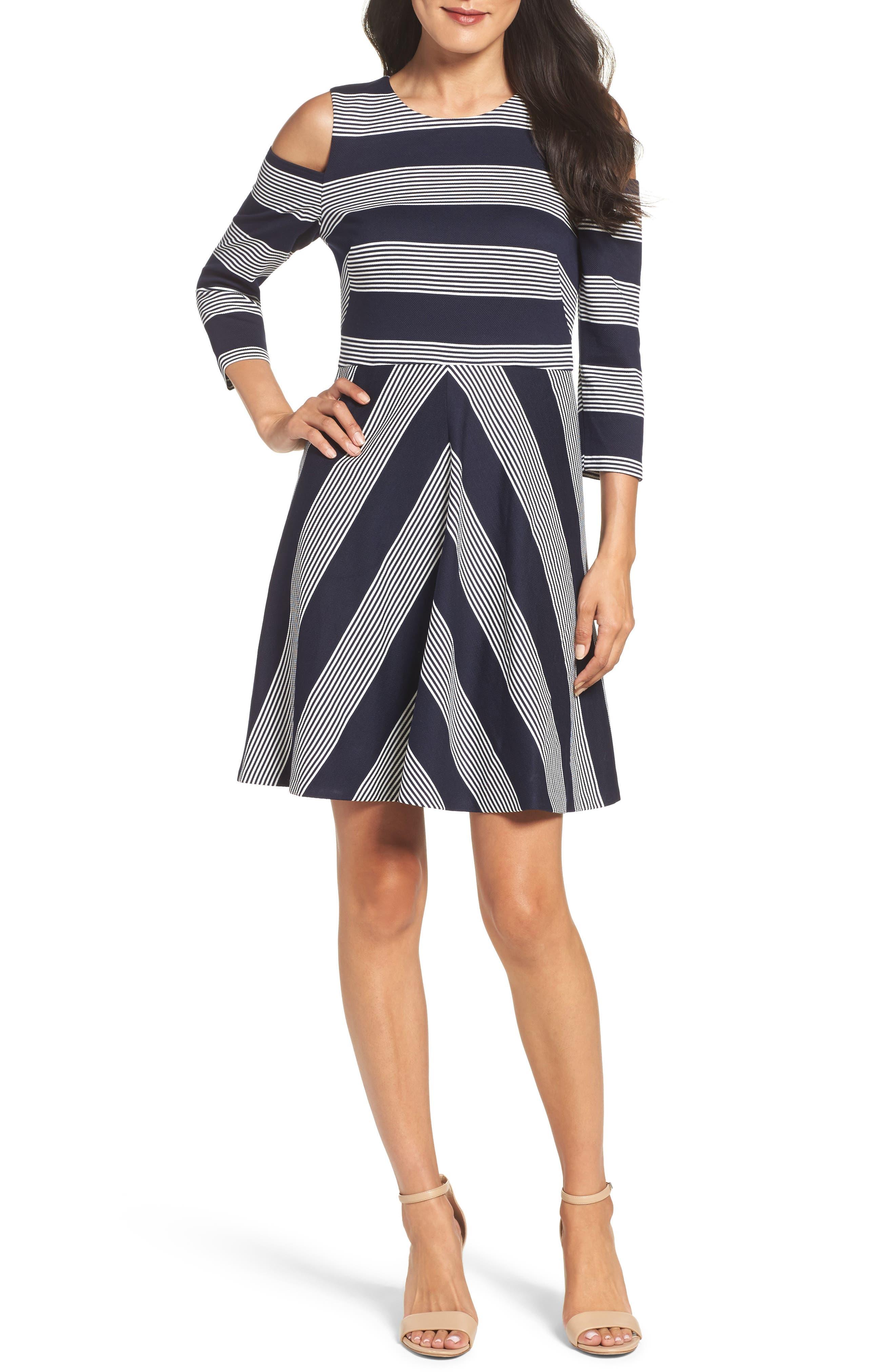 Image of Eliza J Stripe Cold Shoulder Dress