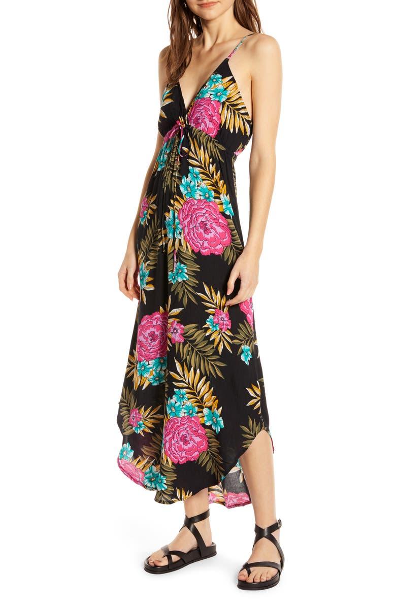 BILLABONG Like Minded Curve Hem Maxi Dress, Main, color, 001