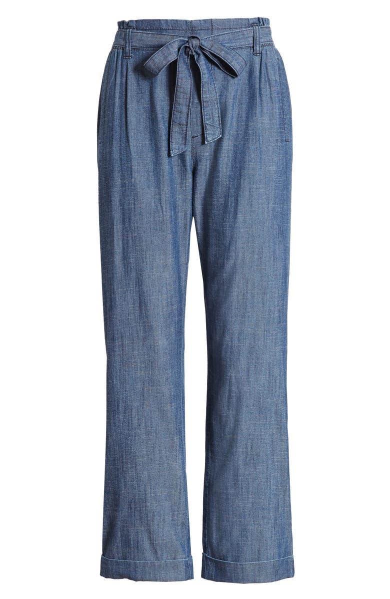 CASLON<SUP>®</SUP> Tie Waist Chambray Pants, Main, color, CHAMBRAY