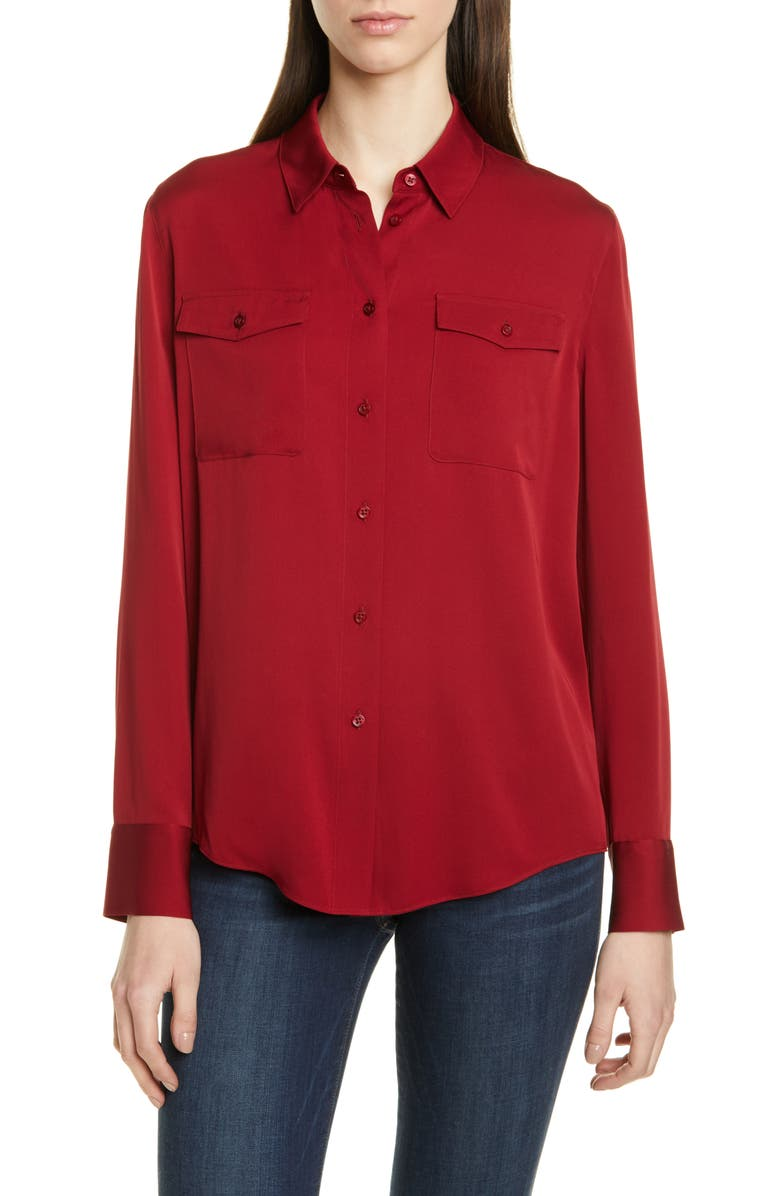 Two Pocket Stretch Silk Shirt by Nordstrom Signature