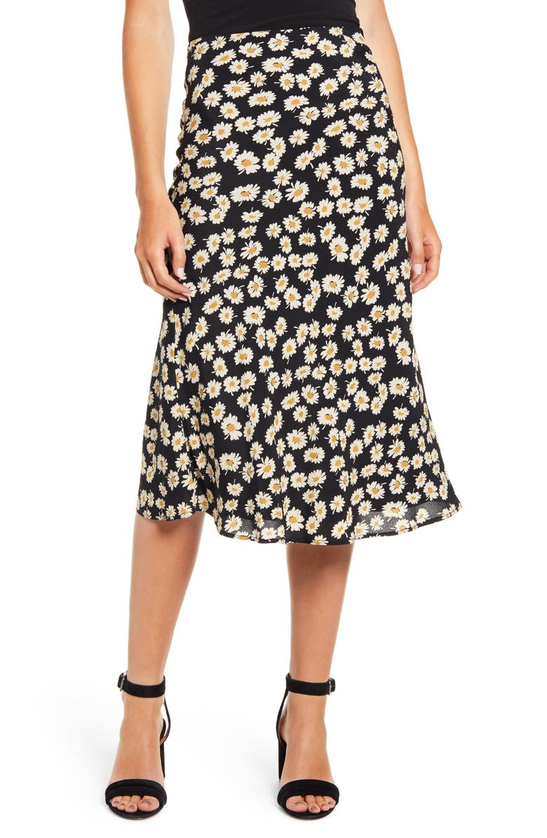 RAILS London Print Midi Skirt, Main, color, BLACK DAISIES