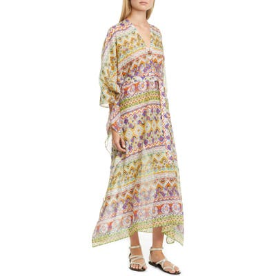 Etro Geo Print Cotton & Silk Caftan Dress, Ivory
