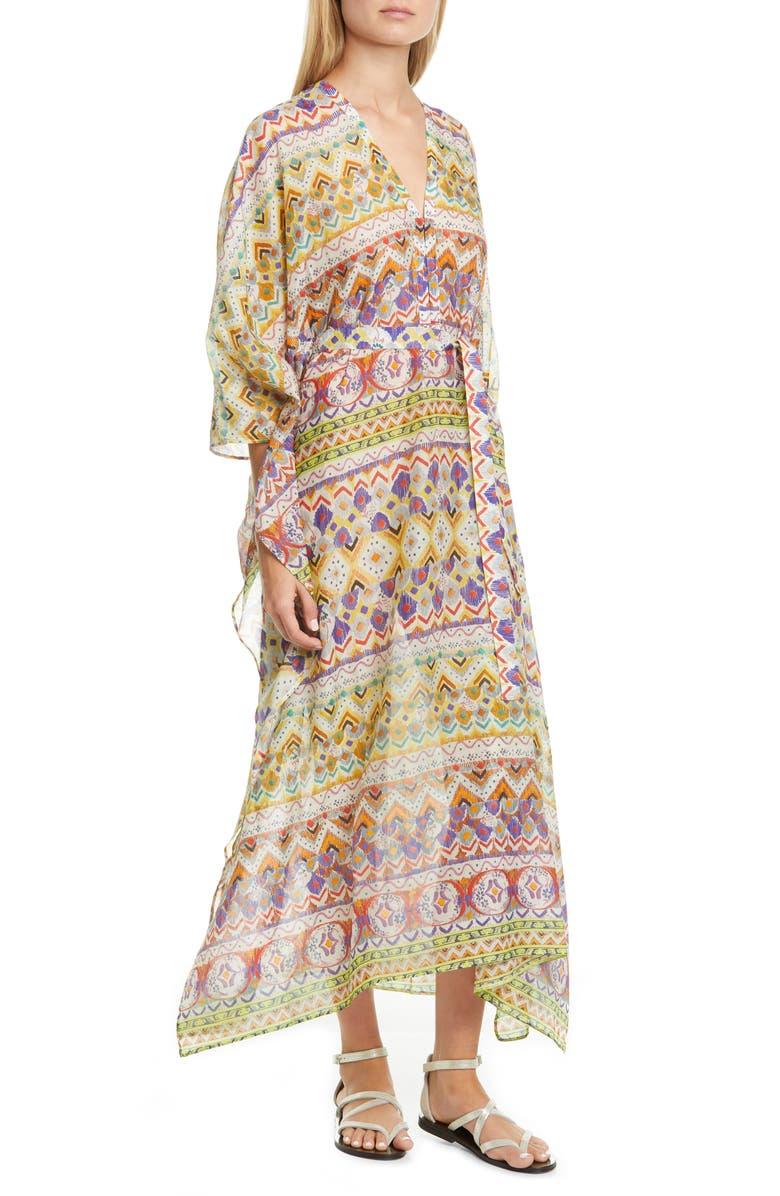 ETRO Geo Print Cotton & Silk Caftan Dress, Main, color, BEIGE