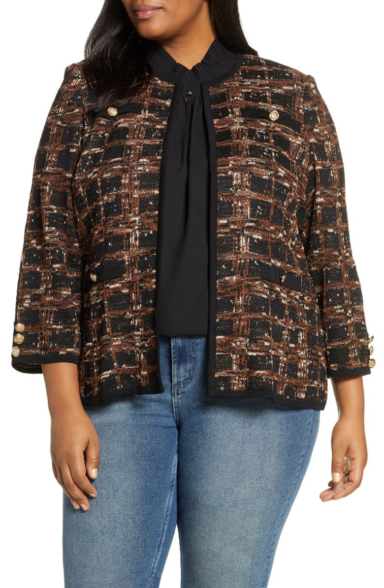 MING WANG Check Jacquard Knit Jacket, Main, color, BLACK/ COGNAC/ FRENCH VANILLA
