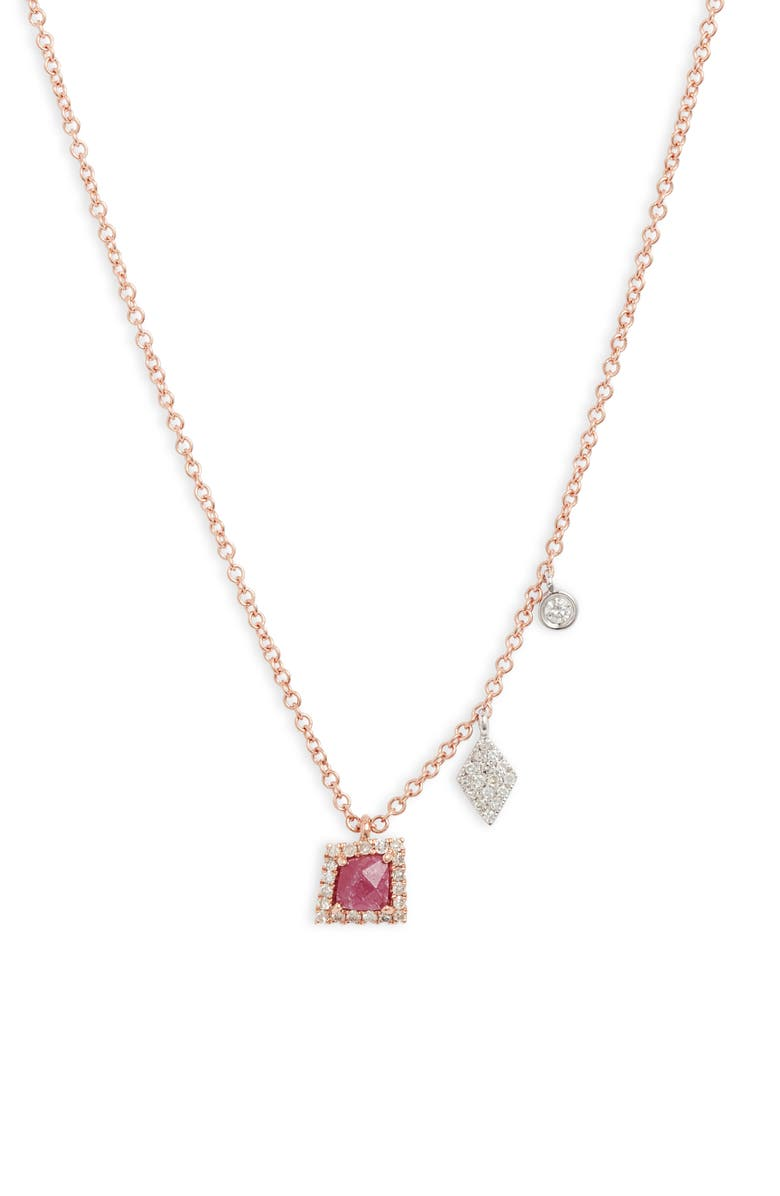 MEIRA T Ruby & Diamond Charm Necklace, Main, color, RUBY/ ROSE GOLD