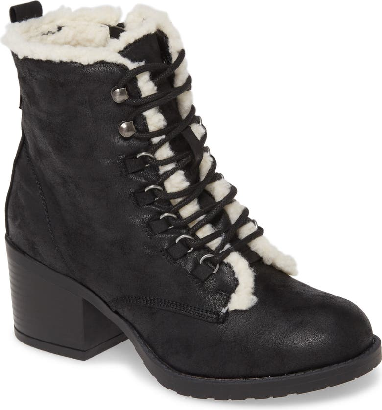 MIA Lars Faux Shearling Bootie, Main, color, BLACK