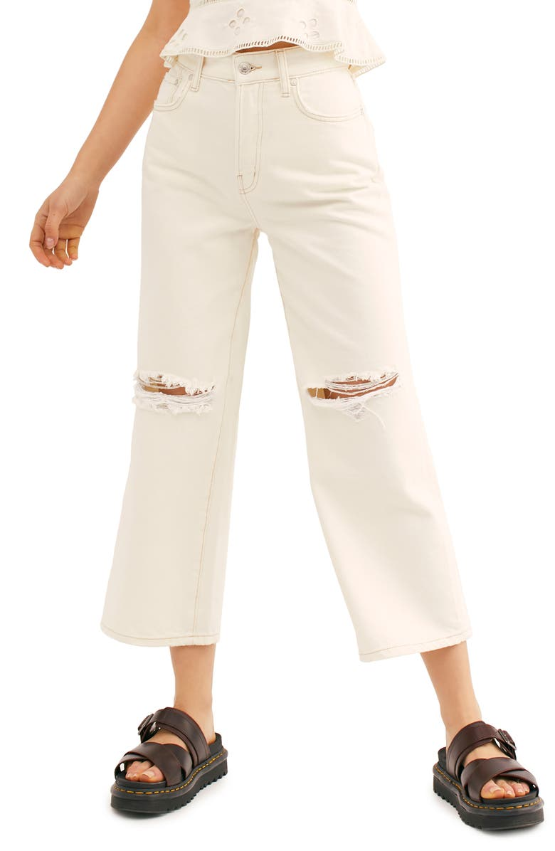 FREE PEOPLE Ranger Ripped Crop Wide Leg Jeans, Main, color, WHITE